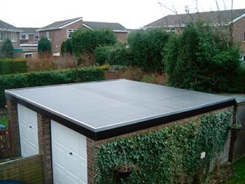 Shed with flat roof installed